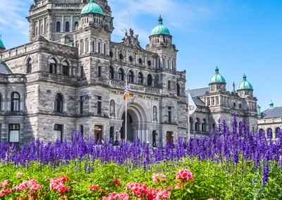 Parliament Buildings with flowers in front